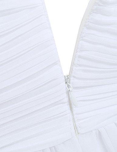 Tiaobug Elegant Damen festliche Kleider Sommer Chiffon Kleid Cocktailkleid Abendkleid Hochzeit Partykleider Gr. 36-46 Weiß