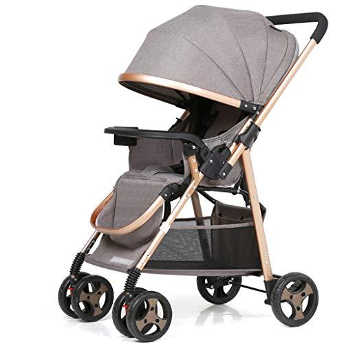 Carritos y sillas de Paseo Cochecito de bebé, Cochecito bidireccional Plegable Ultraligero del toldo del Amortiguador de Choque Bebé Sillas de Paseo (Color : Gray)