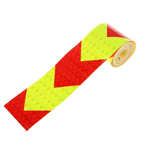 Imported Reflective Warning Conspicuity Tape Arrow Pattern Sticker -Red with Yellow