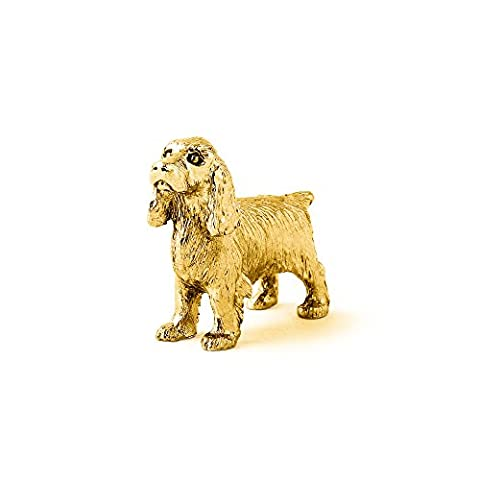 English Cocker Spaniel Made in UK Artistic Style Dog Figurine Collection 22ct Gold Plated