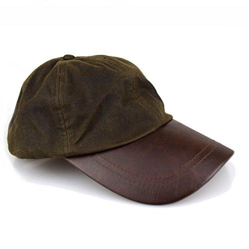 Wachscap | aus 100% gewachster Baumwolle, wind und wasserdicht | Farbe: Oliv | One Size (Jagd Cap)