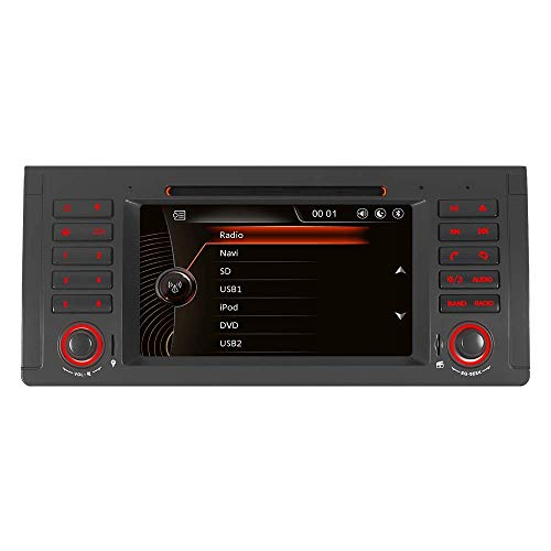 iauch 17,8 cm Touch Bildschirm HD Schrecken 6.0 Auto Stereo mit DVD Player GPS Navigation Bluetooth GPS Radio für BMW E39 5 Serie Serie X5 E53 E38 (Navigation Bmw Radio)