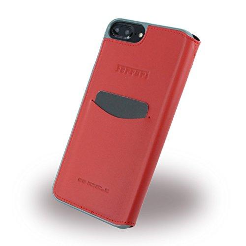 Ferrari Book Type Etui en cuir véritable pour Apple iPhone 7Plus rouge/argent