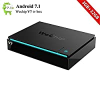 Wechip Android 7.1 TV Box V7 TV streaming box S912 Octa Core 3G/32G Bluetooth 2.4G+5G Dual Wifi IPTV Box 3D 4K HD Media Player with LED Light Bar