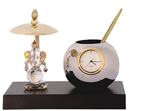 Deals-Outlet-Ganesh-Ji-Crystal-Showpiece-Figurine-With-UmbrellaTable-Clock-Stylish-Pen-Stand-Brass-Stainless-Steel