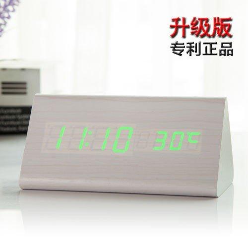 Delta-weiß-bett (Komo Kreative minimalistischen Nacht Licht Holz Uhr Schüler Persönlichkeit Mute Clock Retro elektronische Bett digitaler Wecker Tabelle, Delta weiß Holz grüne LED)