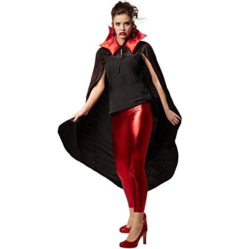 dressforfun Zweifarbiger Vampirumhang mit gezacktem Kragen 135 cm Fasching Fastnacht Karneval Halloween Kostüm