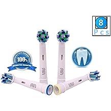 FLM Vitality White and Clean EB50A - Cabezal de recambio para cepillo de dientes eléctrico compatibles con Braun Oral B, 8 unidades
