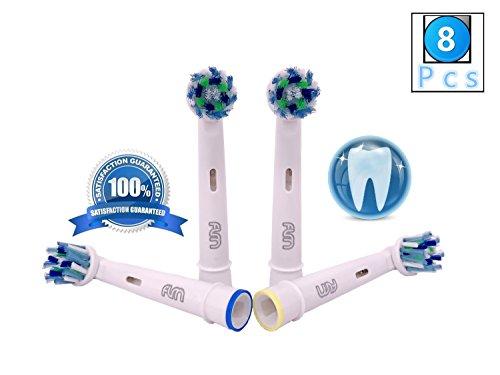 Flm vitality white and clean eb50a - testine di ricambio per spazzolino elettrico compatibili con braun oral b, 8 ricambi