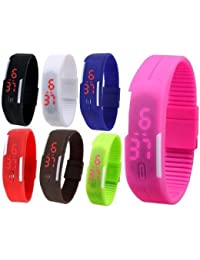 RTimes Set of 7 Multicolor Jelly Slim Digital LED Watch