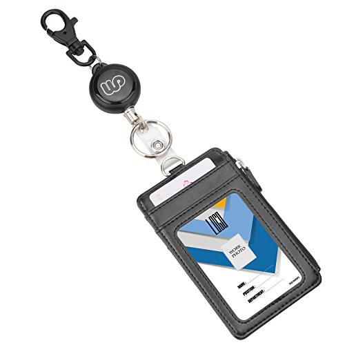 Wisdompro® Kartenetui für Ausweis aus PU-Leder mit doppelseitigem vertikalem Reißverschlussfach und Schlüsselanhänger - mit robuster ausziehbarer Rolle. - Slim Seitlichem Reißverschluss