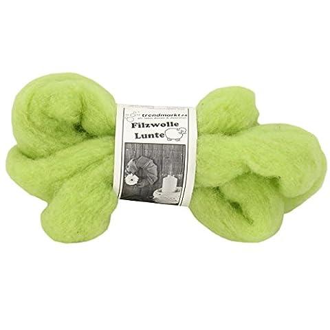 Filzwolle grün einfarbig, 2er Pack, Lunte-Set in grün je 2m ✓ 100% Schafschurwolle ( hellgrün ) ✓ ideal zum Nassfilzen und Trockenfilzen, Filzstoff insgesamt 4m lang ✓ 30 - 40 mm breit ✓ Gesamtgewicht: ca. 60g ✓ wasserfest und lichtecht / farbecht ✓ Märchenwolle in grün ✓ Toller Bastelfilz zum basteln und zum Filzen | trendmarkt24 - 7730221