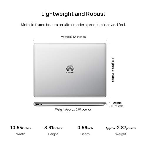 """Huawei Matebook 13 Signature Edn. Laptop - 13"""" 2K Contact, 8th Gen i5, 8 GB RAM, 256 GB SSD, Office 365 Personal 1-Yr, Silver Image 5"""