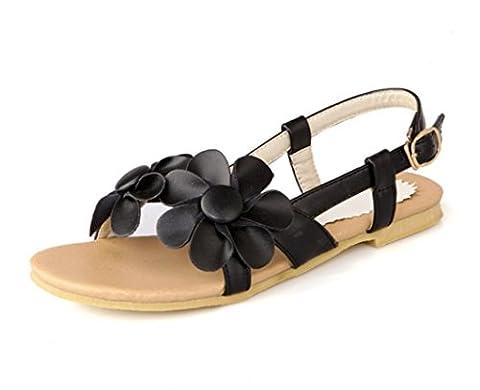 SHFANG Damen Sandalen Sommer Flat und Flat Bottom 34-43 Dreidimensionale Blume Mädchen Freizeit Strand Bequem Pink , black ,