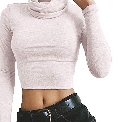 Herren Kabel-kaschmir-pullover (Innerternet Damen Langarm Rollkragen Oberteil mit Stehkragen Drucken Crop Top T-Shirt Slim Fit Clubwear Bluse Body T-Shirt Tunika Tops Stretch Sexy Bottoming Trikot Tops)