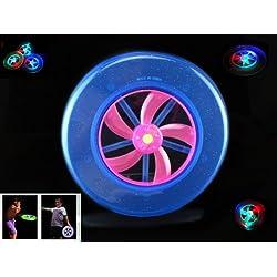 Frisbee azul con LED que brilla en la oscuridad