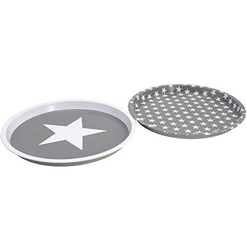 COM-FOUR® 2x Serviertablett mit Sternenmuster, in verschiedenen Designs, Ø 28,5 cm