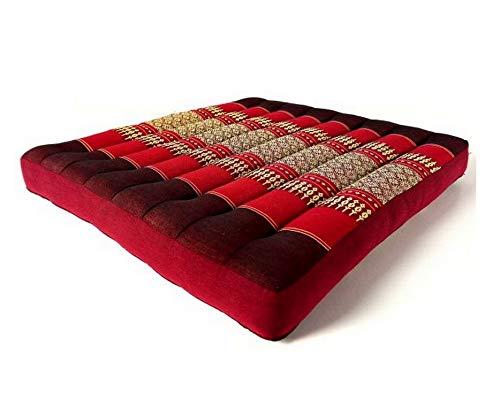 Kapok Sitzkissen 50x50x6,5Cm Der Marke Livasia, Optimal Als Stuhlauflage Oder Meditationskissen, Bodenkissen, Stuhlkissen, Yogakissen (Pink)