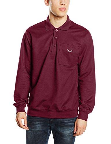 Trigema Herren Sweatshirt Polo-Shirt, Einfarbig Rot (sangria 89)