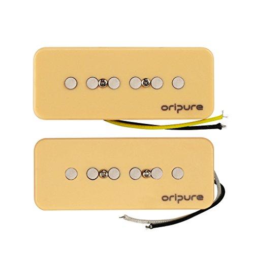Pickups Gitarre P90 (oripure handgefertigt Alnico 5Tonabnehmer-Set 50mm Gitarre Hals & Steg Tonabnehmer für P90Style E-Gitarre Teil, cremefarben)