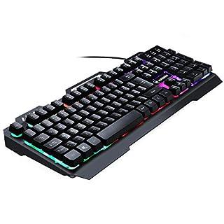 AURSEN Wired Beleuchtete Gaming Keyboard (Tastatur Kabelgebunden, Ergonomisches Design, QWERTZ-Layout Deutsch, USB, Schwarz)