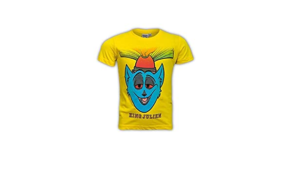 0969f8dea Official Dreamworks Boys Madagascar's King Julien Yellow Short Sleeve T  Shirt (Age 4-5): Amazon.co.uk: Clothing