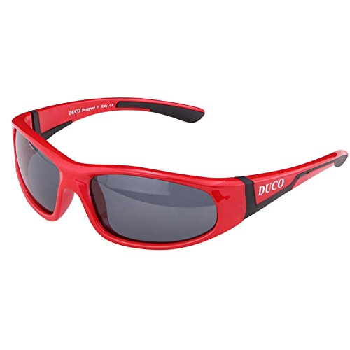 ille Polarisierte Sportbrille für Jungen und Mädchen (Rot002 Für Alter 3-10) (Kinder Sonnenbrillen)