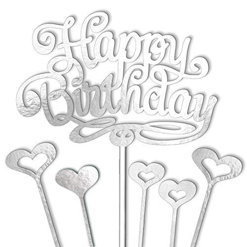 vsd-vk Tortendeko Geburtstag Happy Birthday Cake Topper Silber Deko für Torten Kuchendeko mit 5 Kuchendeckel Herzen Kuchendekoration