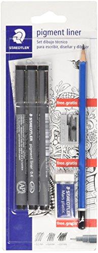 Staedtler 308 SBK3P2. Set de dibujo técnico, 3 Rotuladores Pigment Liner, lápiz, goma de borrar y afilalápices.