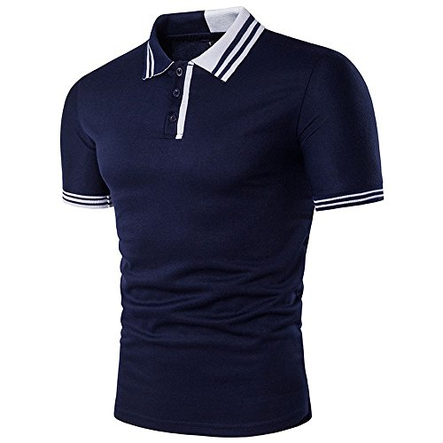 BicRad Herren Shirt Polo Kurzarmshirt Slim Polohemden Baumwolle, Marine-Weiß, Gr. XXL (Weiße-kragen-polo-t-shirt)