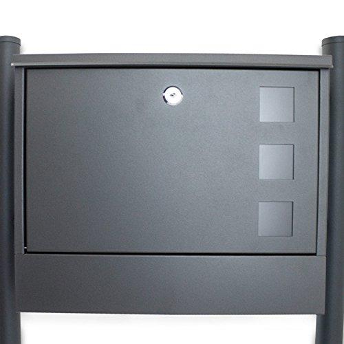 BITUXX® Doppel Standbriefkasten Briefkasten Postkasten Mailbox Briefkastenanlage mit integrierten Zeitungsfach Dunkelgrau Anthrazit - 4