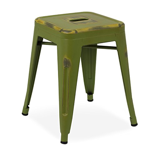 Taburete Bajo Tolix - Taburete Industrial Metálico Vintage (Varios Colores) - Vaukura (Verde Oliva)