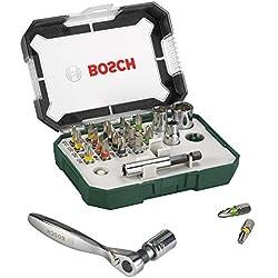 Bosch 2607017322 Embouts de vissage + Cliquet, Set de 26