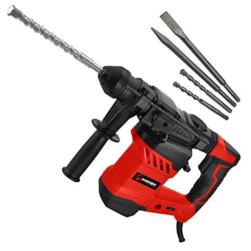 SCHMIDT security tools SDS-Plus Bohrhammer RH-1500 Meißelhammer 1500Watt 6,0J Schlagkraft   Meißeln Schlagbohren Bohren mit Antivibrationsgriff inkl. Handwerker-Koffer Zubehör   Abbruchhammer
