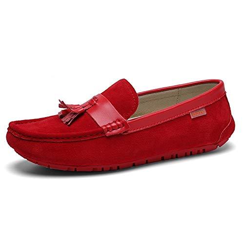 BBTK Mode Driving Loafer Für Männer Boot Mokassins Slip On Style OX Wildleder Klassische Quaste Atmungsaktive (Color : Rot, Größe : 41 EU) - Sportliche Wildleder-mokassins
