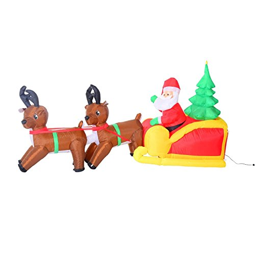 HOMCOM LED Figur Motiv Weihnachtsmann mit Schlitten und Rentieren Schneemann Weihnachten aufblasbar...