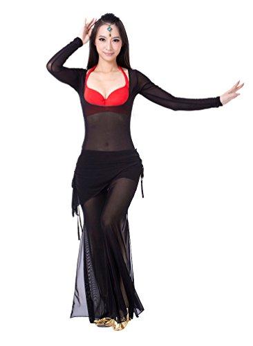 ZhiYuanAN 2Pcs Couleur Unie Manche Longue Tops & Pantalon Set Costume Danse Du Ventre Noir