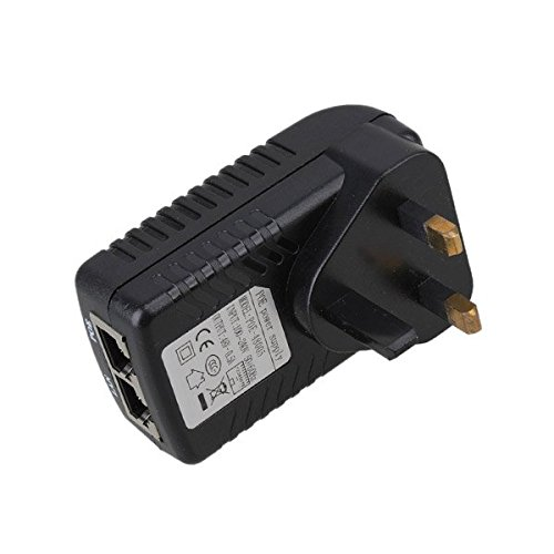 PIXNOR DC 48V 0.5A POE Injector Power Supply Over Ethernet Adapter with UK Plug for 12V 24V 48V POE Device Test