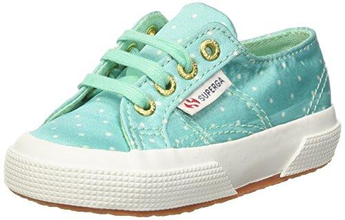 Superga Mädchen 2750-Dotssatinj Niedrige Sneaker Verde (Aquamarine/Dotswhite)