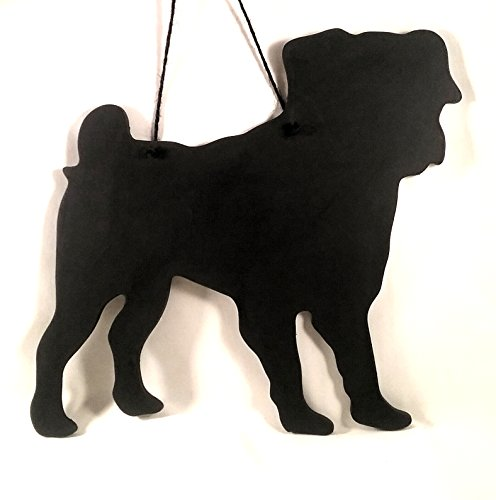 Pug Dog Gift-unici fatti a mano a forma di cane razza lavagna, lavagnetta, lavagna, 6mm (Pug Christmas Stocking)