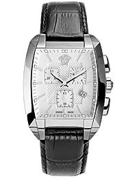 Versace Character Tonneau WLC99D002S009 - Reloj cronógrafo de cuarzo para hombre, correa de cuero color negro