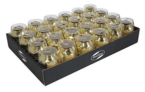 Clairefontaine 612075C Box (mit 24 Geschenkbänden, 10 m x 7 mm, ideal für Geschenke, mit Metalleffekt) 24er Pack gold