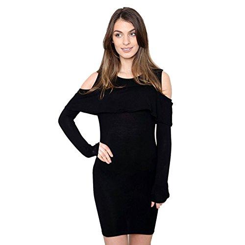 Janisramone - Robe - Robe moulante - Uni - Manches Longues - Femme noir * taille unique Noir