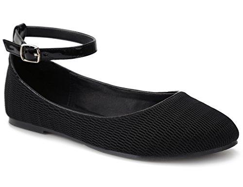 MaxMuxun Schwarz Ballerinas Damen Flache Schuhe mit Knöchelriemchen Größe 40 EU (Heels Knoechelriemchen Ballett)