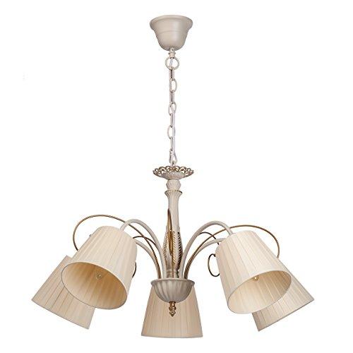 Beige Glasschirm (Klassischer Kronleuchter beige und goldfarbig Metall 5 flammig Glasschirme exkl.5*60W E14)