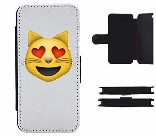 """Leder Flip Case Apple IPhone 5/ 5S/ SE """"Lächelndes Katzengesicht mit herzförmigen Augen"""", der wohl schönste Smartphone Schutz aller Zeiten."""