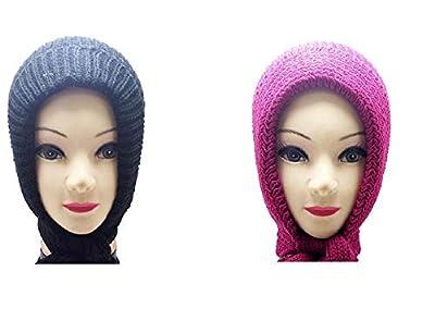Light Gear'Combo of 2 Women Woolen Head Scarves (Maroon+ Blue) Cap Model