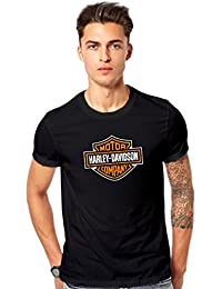 H D Bike Logo Printed T Shirt - Men's H D Bike Logo Round Neck T Shirt - Black