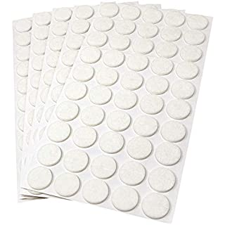 Adsamm® | 250 x felt pads | Ø 0.79'' (Ø 20 mm) | white | round | self-adhesive furniture glides with felt thickness of 0.138''/3.5 mm in top-quality by Adsamm®