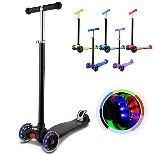Hikole Kinderscooter Dreirad mit verstellbarem und Abnehmbarer Lenker Tret-Roller LED Räder Blinken für Kinder ab 3 Jahren (Schwarz)